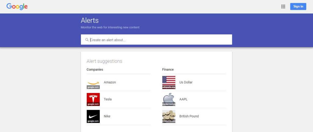 free social media tools - Google Alerts
